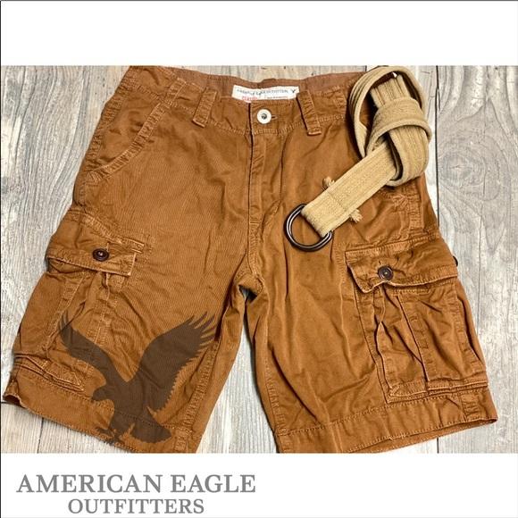 AE American Eagle Khaki Mens Classic Cargo Shorts 30 NWOT